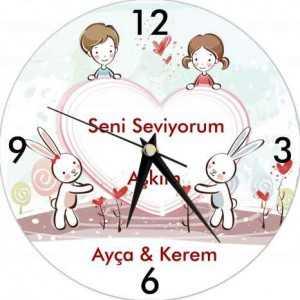 kişiye özel aşkını göster duvar saati
