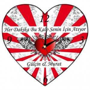 sevgiliye özel kalp duvar saati