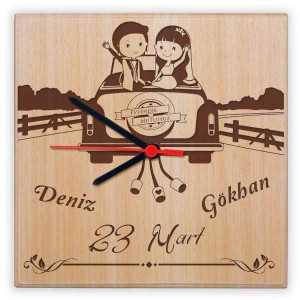 yeni evlilere özel ahşap duvar saati